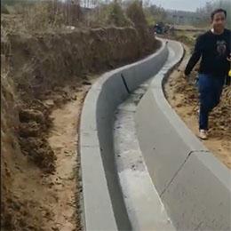 混凝土水渠现浇机S弯视频